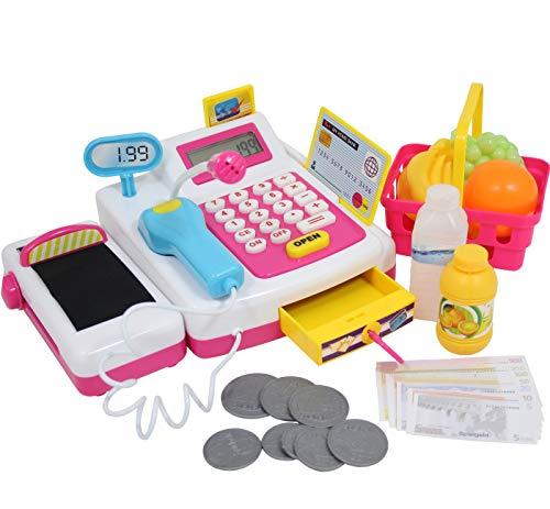 Eddy spielkasse Kinder mit Scanner geräusch mikrofon spielzeugkasse kaufladen zubehör Geld kinderkasse registerkasse Jungen mädchen Spielzeug