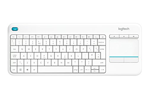 Logitech K400 Plus Wireless Touch - Teclado inalámbrico para Windows, Android, Chrome y Smart TV, QWERTY Español, color blanco