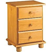 Dogar Altea - Mesita 3 cajones, 55 x 48 x 34 cm, Madera, Color Miel - Muebles de Dormitorio precios
