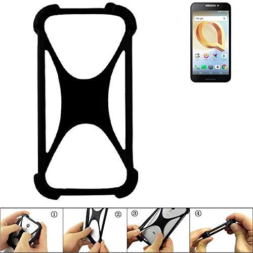 K-S-Trade Handyhülle für Alcatel A30 Plus Schutz Hülle Silikon Bumper Cover Case Silikoncase TPU Softcase Schutzhülle Smartphone Stoßschutz, schwarz (1x)