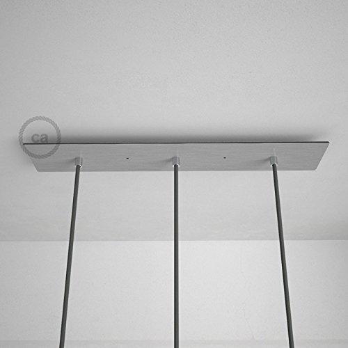 Rosace XXL rectangulaire 60x12cm à 3 trous acier satiné avec les accessoires.