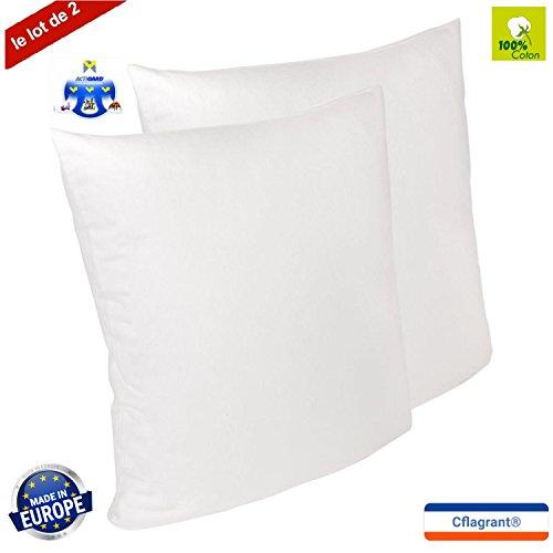 Cflagrant® LOT DE 2 Protèges Oreillers 65x65cm 100% Coton Gratté - Traité Anti-Acariens Actigard® - Molleton - Blanc