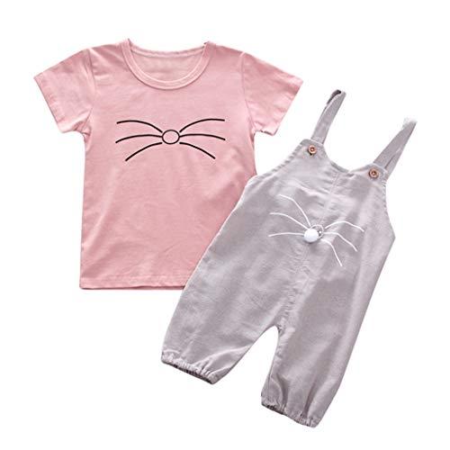 Alwayswin Kinder Baby Mädchen Cartoon Katze Print T-Shirt + Body Romper Outfits Set Sommer Kurzarm T-Shirt Hosen Overall Einfarbig Mode Top Bequem Wild Freizeit Kinderbekleidung