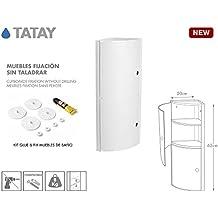 Tatay 4480102 - Armario de baño rinconero vertical en PP, 20 x 20 x 62,5 cm, apto para sistema de fijación Glu&Fix armarios, blanco