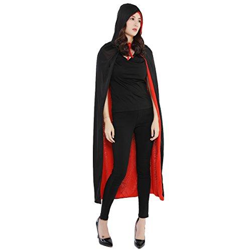 Kostüm Rotes Polyester Cape - Huntfgold Schwarzer Roter Umhang Doppelseitig Cape Vampir Kostüm für Halloween Karneval Fasching Erwachsener Unisex