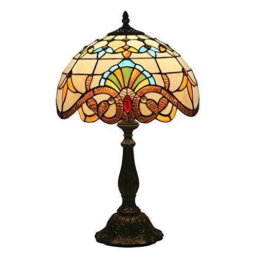 JUZEN Color Tiffany Baroque Shell Table Lamp 12 Inch Church Glass Retro Lampshade Bedroom Bedside Lamp Living Room Table Lamp