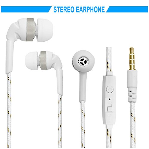 Hello Zone Exclusive Designer Series Stereo Headset Handsfree Headphone Earphone with Mic 3.5 MM Jack Apple iPhone 6 Plus -White with Gold Design  available at amazon for Rs.218