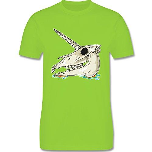 Shirtracer Piraten & Totenkopf - Einhorn Totenkopf - Herren T-Shirt Rundhals Hellgrün