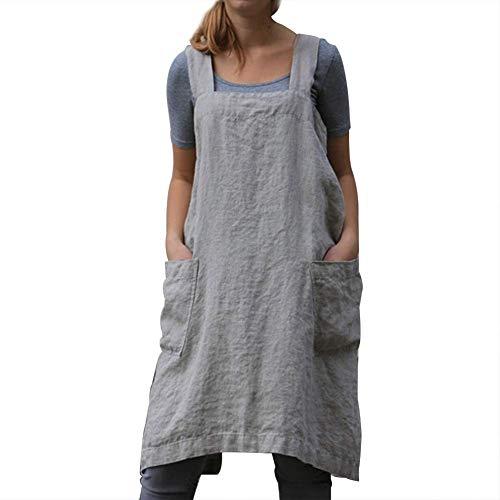 Vestido Tipo Delantal Lino algodón Mujer, Color Liso