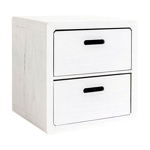 Mobili rebecca® comodino cassettiera angoli tondi 2 cassetti legno bianco shabby chic arte povera camera bagno (cod. re4031)