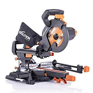 Evolution Power Tools R210SMS Multi-Material Sliding Mitre Saw with Plus Pack, 1500 W, 230 V, 210 mm