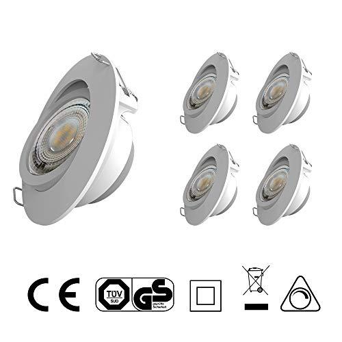 LED Einbauleuchten IP20 Ultra flach Dimmbar und Schwenkbar Farbe Weiss 5 x 5Watt 230 Volt 450lm Warmweiss LED Einbaustrahler LED Spots