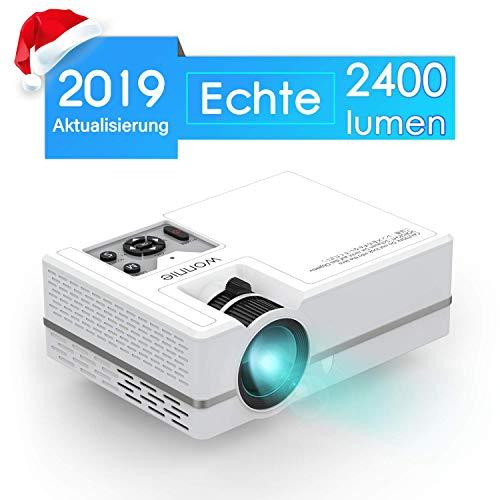 WONNIE Mini LED Beamer, Echte 2400 Lumen, Video Projektor mit 1080P Ful lHD Unterstützung, kompatibel zu iPhone / iPad / Laptop / TV-Box, viele Schnittstellen: HDMI / VGA / SD / USB / AV / Ear
