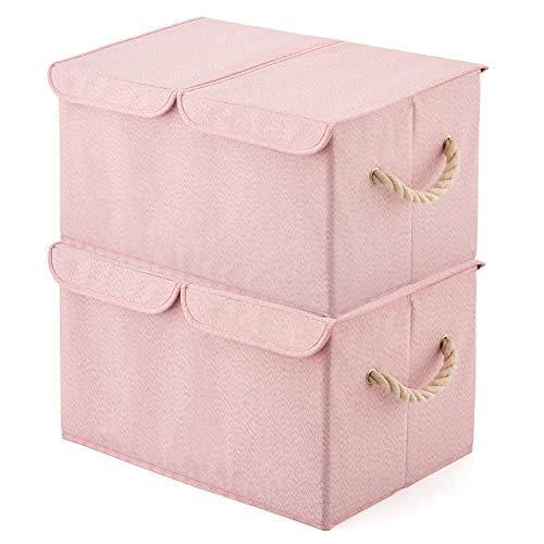 EZOWare 2-Pack Aufbewahrungsbox mit Deckel, Cube Aufbewahrungskorb Ordnungsystem Stauraum Boxen Körbe Kisten (Rosa) - 43,5 x 30,5 x 26 cm -