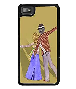 Fuson Premium Crazy Couple Metal Printed with Hard Plastic Back Case Cover for Blackberry Z10