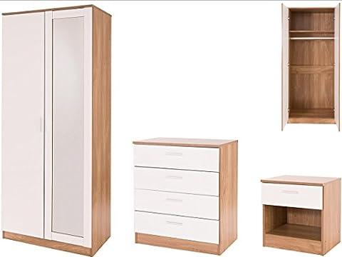 High Gloss 3 Piece Bedroom Furniture Set with 2 Door