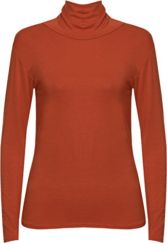 WearAll - Haut simple avec manches longues et un col roulé - Hauts - Femmes - Tailles 36 à 42 Rouille