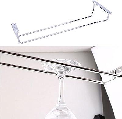 chiccharming soporte de vino de vidrio accesorio de vidrio 1fila cromado, cristal colgador para copas de champán cristal accesorio de armario soporte casa comedor Bar herramientas estante