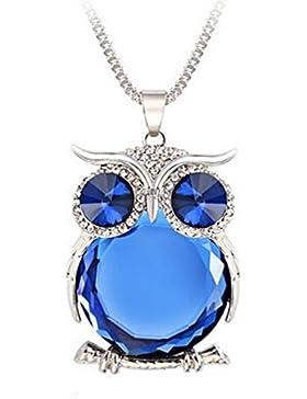 Bellecita Collar de Cadena de Suéter de Búho Cadena de Suéter Largo(Azul)