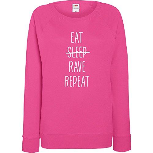 TRVPPY - Sweat Pull, modèle EAT SLEEP RAVE REPEAT - Femme, différentes tailles et couleurs Fuchsie