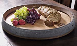 True Fabrications Used Wine Oak Barrel Lazy Susan and Serving Tray (used in wine production 2-5 years)