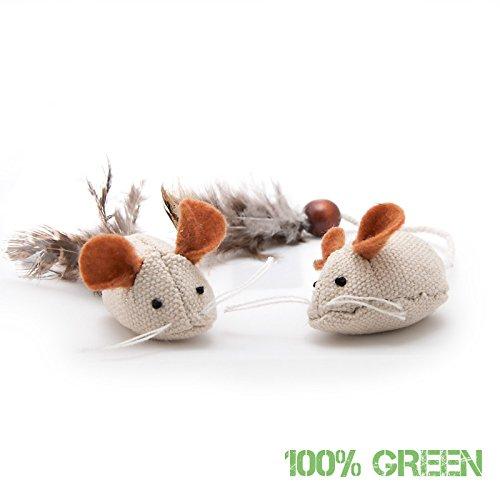 4yourpet 2er Set Verschiedene Spielzeugmäuse, natürliches Katzenspielzeug aus Jute mit Federn und Holzperlen