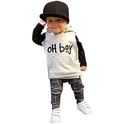 Conjuntos de ropa, Dragon868 Cool estilo niño pequeño bebé caliente niña encapuchado Tops + pantalones (12M, Blanco)