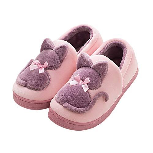 Hausschuhe Frauen All Inclusive Flache Ferse Baumwolle Waschbar Anti-Rutsch-Hausschuhe Winter Haus Warme Indoor/Outdoor Dicke Untere Schuhe (Farbe : Purple, größe : 39/40 EU)