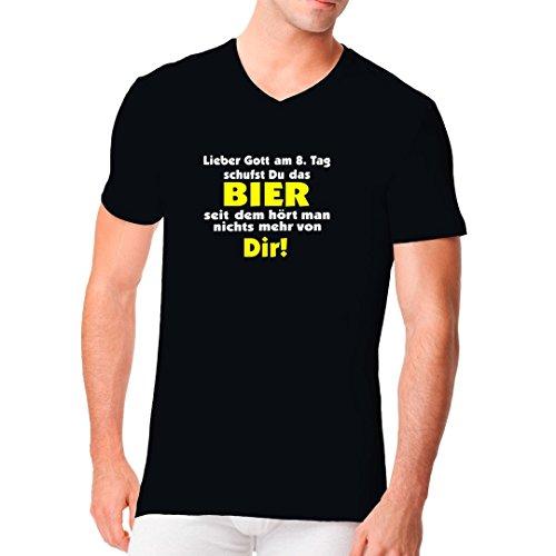 Fun Sprüche Männer V-Neck Shirt - Gott schuf das Bier by Im-Shirt Schwarz