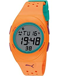 Puma Faas 250 Unisex Digital Watch with LCD Dial Digital Display and Orange PU Strap PU910942011