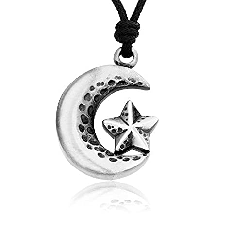 Llords Jewellery Star Crescent Half Moon Necklace Pendant + Silver Plated Clasp, Fine Pewter