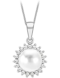 Carissima Gold 9 ct White Gold 0.14 ct Diamond Cluster and Pearl Pendant on Chain Necklace