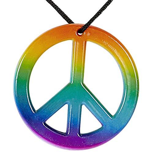 NET TOYS Cooler Hippie-Schmuck Woodstock | Regenbogenfarben | Hinreißendes Damen-Accessoire Peace-Kette mit Anhänger geeignet für Mottoparty & Karneval -