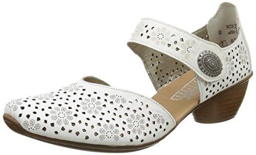 Rieker43711 80 - Scarpe con Tacco Donna, Bianco (Blanc (Weiss/Bian)), 39 EU