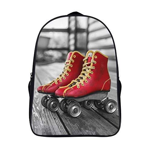 Fdjo Zaino Da Viaggio Scarpe Da Skate Rosse Donna Uomo Pelle Sportivo Viaggio Vintage Antifurto Zaino