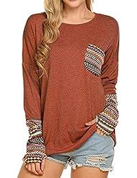 44372f0556 Femme Haut Élégant Printemps Automne Manche Longue Shirt Rond Col Tee Shirt  Loisir Pulli Vintage Mode Vetements…