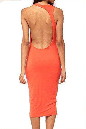 Dissa® Orange Cut Out Sicherheitspolster ohne Rückenlehne O Hals Bodycon Midi-Kleid.,Orange Orange