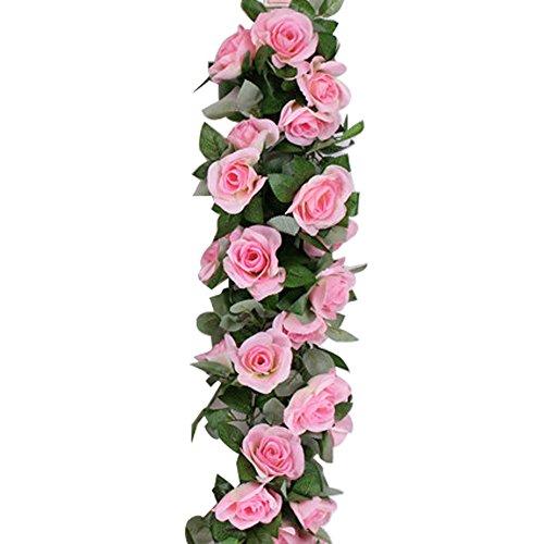 FOONEE Fake Rose Vine Girlande Künstliche Rose Vine Fake Blumen Garland Seide Rose Flower Wandbild Künstliche Faux Blumen Zum Aufhängen Rose Ivy Pflanzen für Home Hochzeit Craft Art Decor Rose -