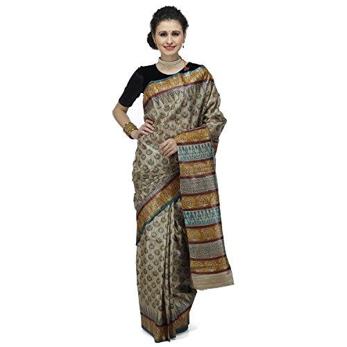 Romi's Raw Tussar Silk Printed Handloom Saree (Beige)
