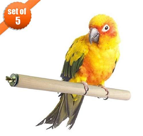 MEISO, trespolo per Uccelli, Accessori in Legno Naturale, Set da 5 Pezzi