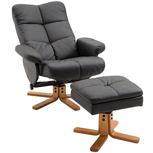 Homcom Fauteuil relax inclinable style contemporain repose-pieds coffre rangement simili cuir acier bois noir 59BK