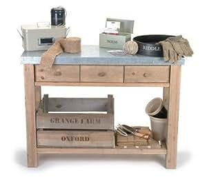 table de rempotage en bois avec dessus zinc id al pour abri de jardin ou comme table d. Black Bedroom Furniture Sets. Home Design Ideas
