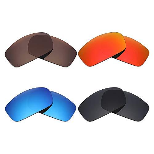 Mryok 4Paar Polarisierte Ersatz-Objektive für Costa Del Mar caballito Sonnenbrille-Stealth Schwarz/Fire Rot/Ice Blau/Bronze Braun