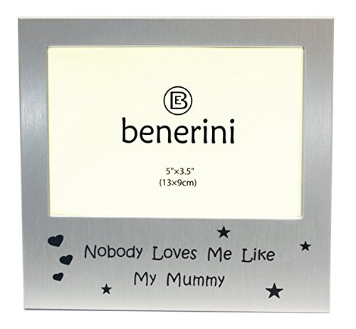 Photo Picture Frame Gift 13 x 9 cm Will take a Photo 5 x 3.5 Inches - Brushed Aluminium Satin Silver Color. benerini We Love Our Grandparents
