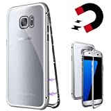 Coollee Galaxy S7 Edge Hülle Magnet 9H Tempered Glass Backcover für Samsung Galaxy S7 Edge, Handyhülle Kreativ 360 Grad Magnetic Metall Frame Bumper Transparent Glas Back Cover Dünne Case (Klar Weiß)