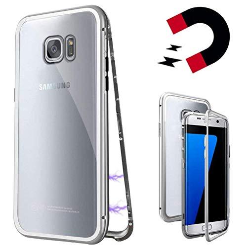 Coollee Coque pour Samsung Galaxy S7 D'adsorption Magnétique Cadre Métallique Ultra Fin Verre Trempé avec Couvercle à Aimant intégré pour Samsung Galaxy S7, Blanc