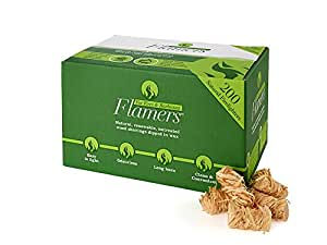 Flamers Natural Firelighters For Woodburners, Stoves, Barbeques and Campfires (200 units)