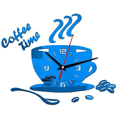 Wanduhr 3D Kaffee Time Clock Acryl Wanduhr Modern für Küche Home Decor Cup Form Wandaufkleber Hohl Ziffer Uhr,Blue