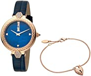 Just Cavalli Valentine's Special Women's Blue Dial Leather Analog Watch & Bracelet Set -