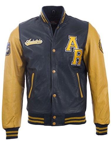 Aviatrix Herren echtes Leder Letterman Baseball-Jacke (VZH7) Leder Echt Jacke